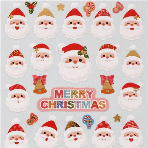 cute christmas santa claus face bell stickers with gold metallic from japan - Cute Christmas Pics