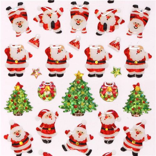 cute christmas santa claus star glitter stickers from. Black Bedroom Furniture Sets. Home Design Ideas