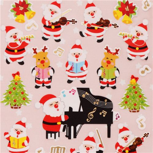 cute Christmas music orchestra stickers with gold metallic from ...