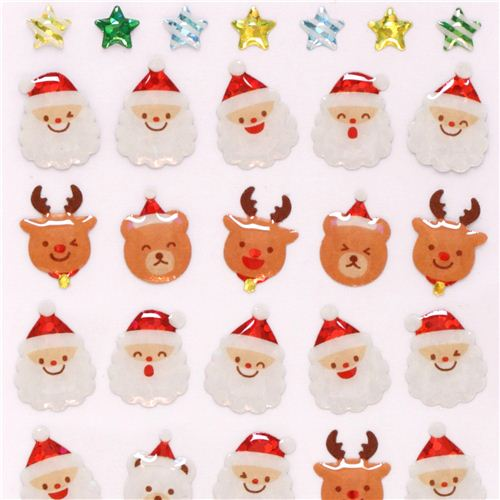 Cute Christmas Reindeer Face Glitter Stickers With Gold Metallic From Japan 1