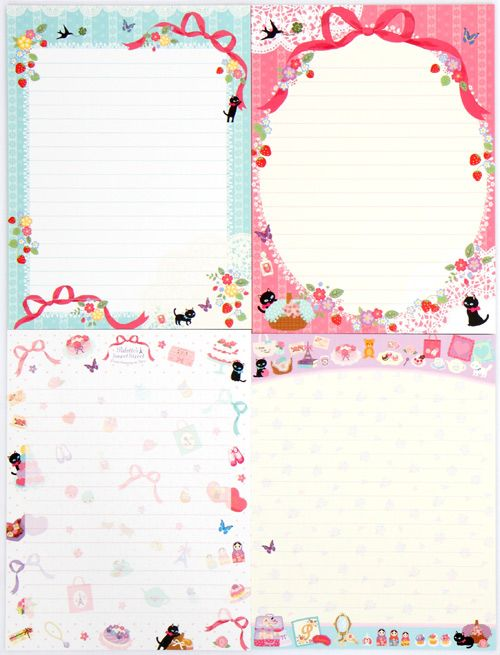 cute french letter set with flowers cats 2