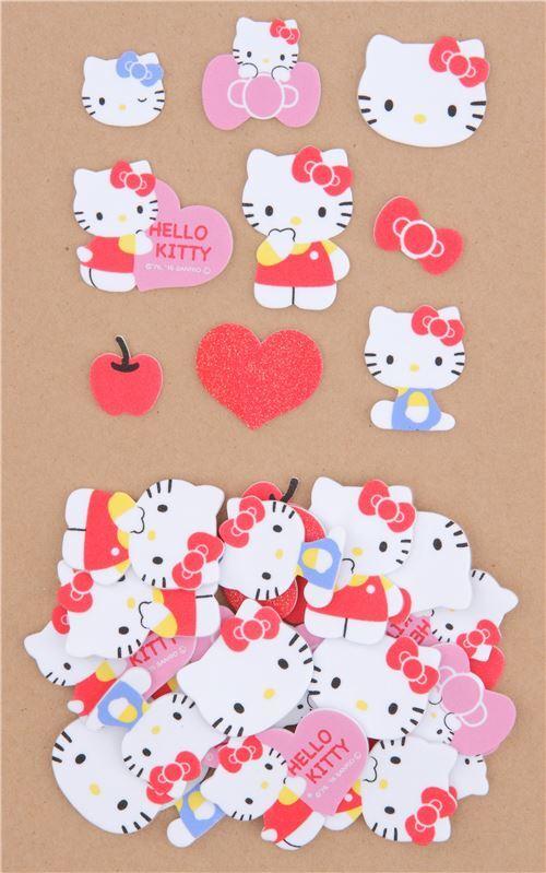 Cute Hello Kitty Bow Apple Bow Soft Sponge Sticker From Japan 3