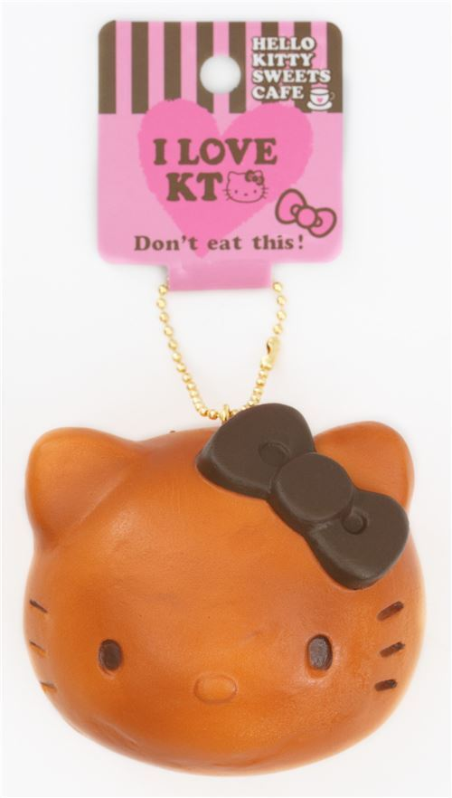 cute Hello Kitty brown bun dark brown bow squishy charm bag