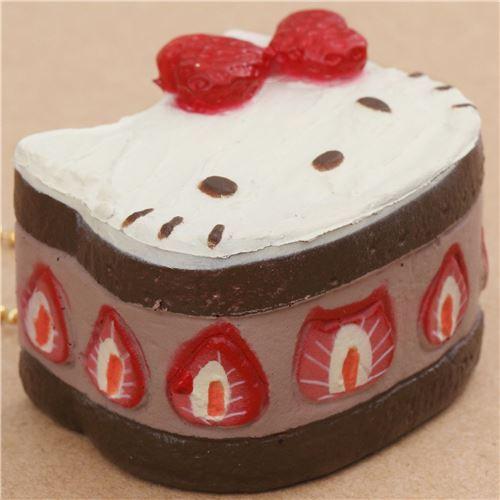 Susser Hello Kitty Brauner Kuchen Erdbeere Schleife Squishy Anhanger