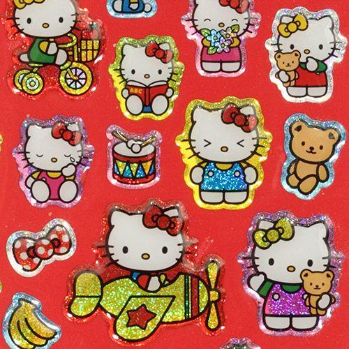 cute hello kitty glitter sticker from japan 1