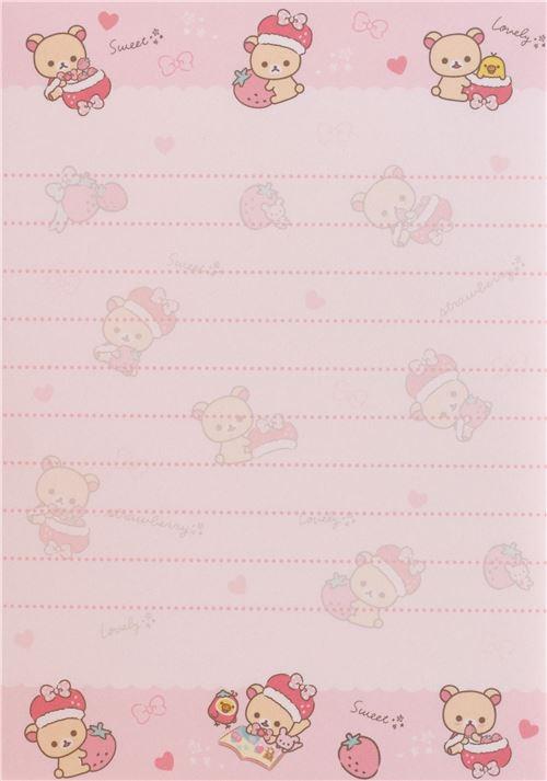 cute korilakkuma strawberry heart note pad by san x memo pads