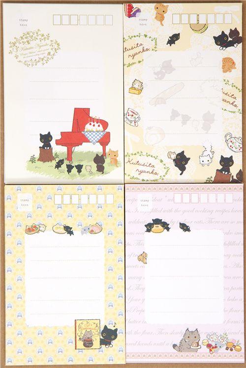 cute kutusita nyanko kitty letter paper set forest picnic