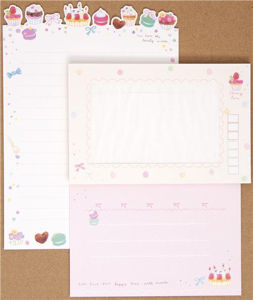 cute letter paper set macaroons birthday cake 1