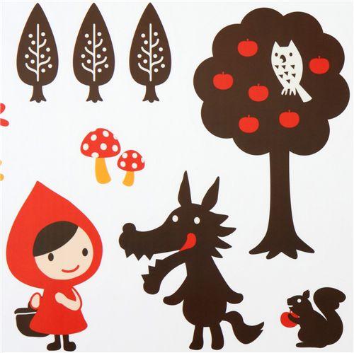 cute Little Red Riding Hood wall sticker wolf Otogicco ...