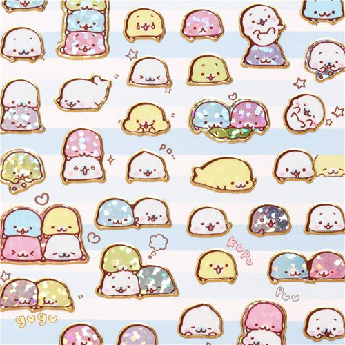 cute Mamegoma Baby seals glitter stickers San-X