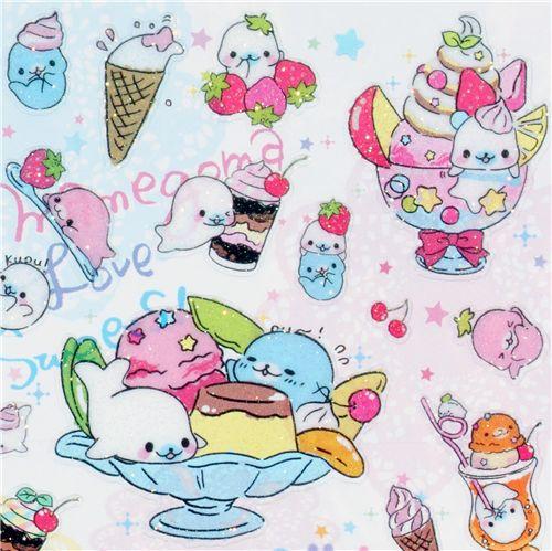 Cute Ice Cream Wallpaper 53 Images: Cute Mamegoma Seal Ice Cream Glitter San-X Sticker