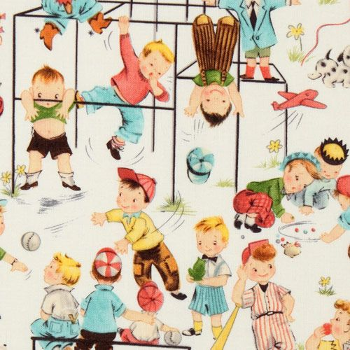Cute michael miller vintage fabric children playground for Novelty children s fabric