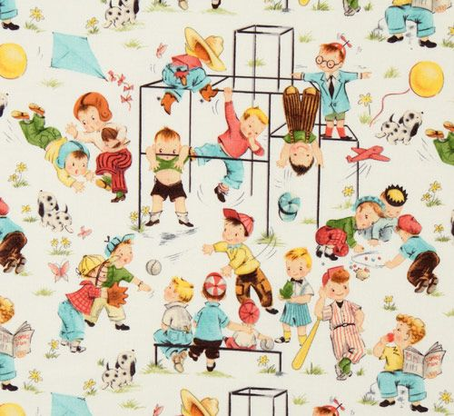Cute michael miller vintage fabric children playground for Children s character fabric