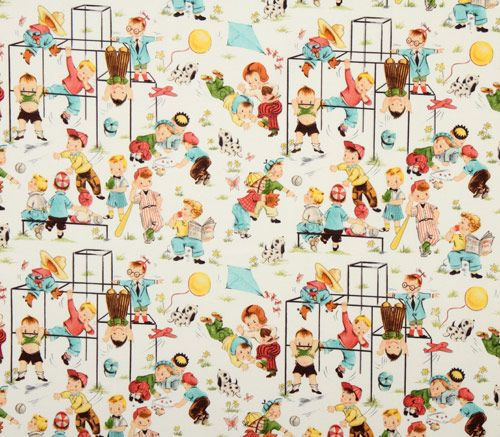 Cute michael miller vintage fabric children playground for Children s upholstery fabric