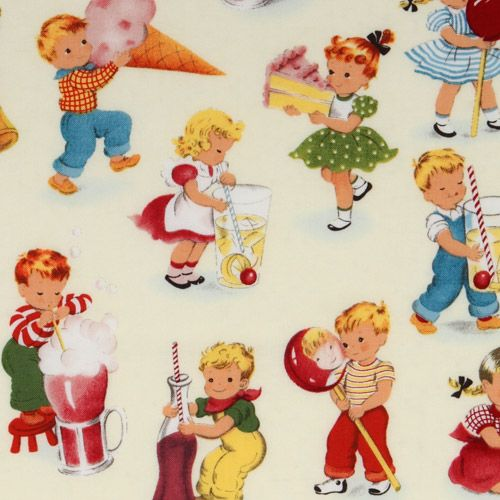 Cute michael miller vintage fabric children playing for Childrens material