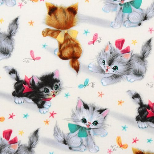 Cute Michael Miller Vintage Fabric Kitty Kitties Modes4u