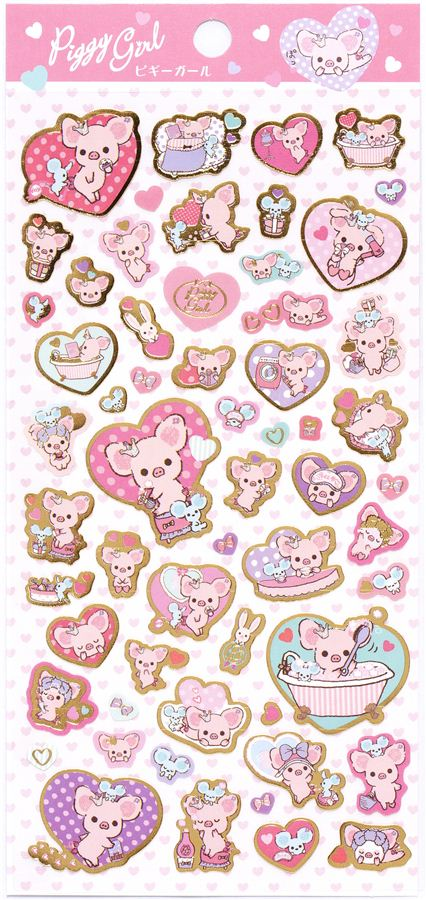 cute piggy girl stickers with pink pig hearts japan sticker