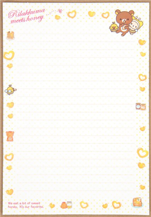 cute Rilakkuma bear honey Letter Set bees - Letter Sets