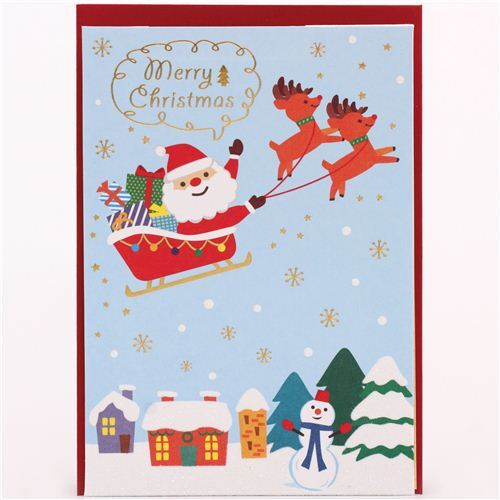 Cute Santa Claus Christmas Tree Glitter Letter Pop Up Card From