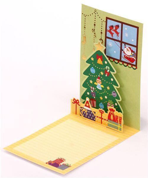 Pop Up Karte Tannenbaum.Süße Weihnachtsmann Tannenbaum Brief Glitzer Pop Up Karte Aus Japan
