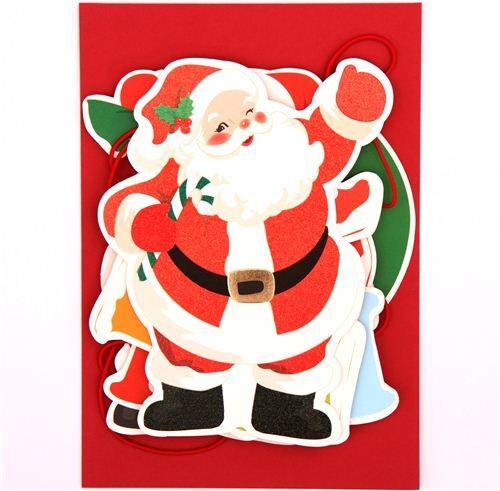 Cute Santa Claus Merry Christmas Glitter Garland Letter Card