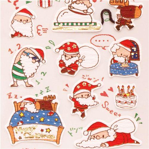 cute santa claus reindeer snowman metallic stickers from japan 2 - Santa Snowman