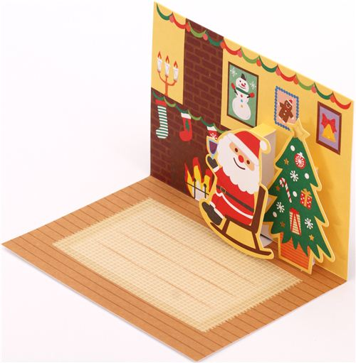 Cute Santa Claus Rocking Chair Christmas Glitter Letter