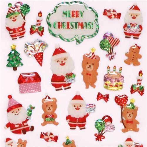 cute santa claus teddy bear christmas tree glitter stickers from japan 1 - Bear Christmas Tree