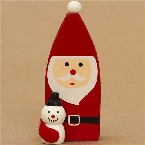 Cute Santa Claus With Snowman Christmas Card Holder