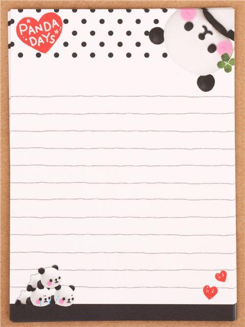 lindo papel de carta mini animal oso panda coraz u00f3n de