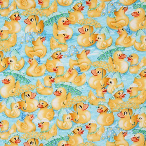 Cute bathing duck with umbrella fabric robert kaufman for Cute childrens fabric