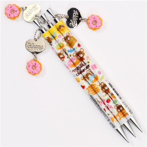 cute bears donuts mechanical pencil with charm Japan ...