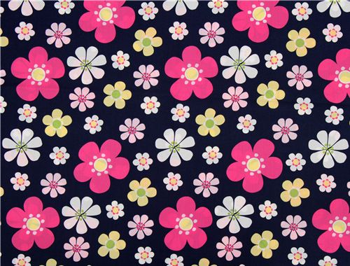 White Designer Fabric With Little Pink Roses Flowers