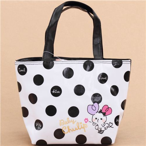 Cute Black And White Heart Bunny Dots Lunch Bag From An