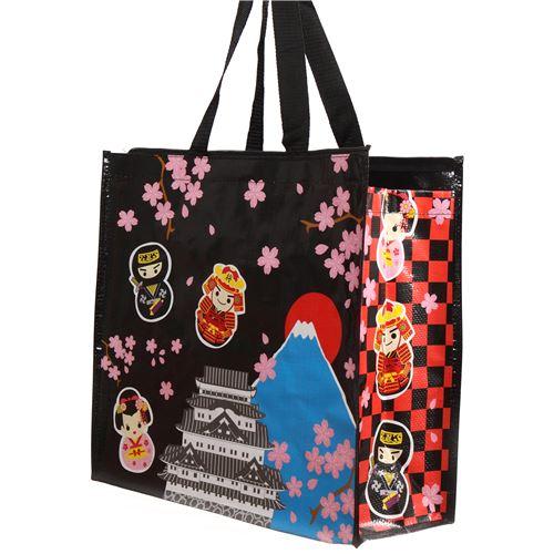 joli sac shopping en plastique noir avec des ninjas des geishasi et des fleurs sacs. Black Bedroom Furniture Sets. Home Design Ideas