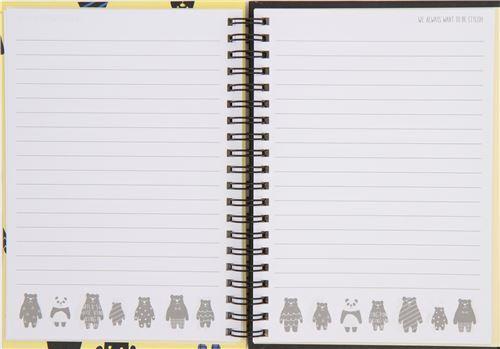 cute black yellow bear animal ring binder notebook japan memo pads