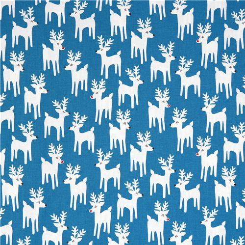 cute blue Christmas fabric reindeer Robert Kaufman - Christmas ...
