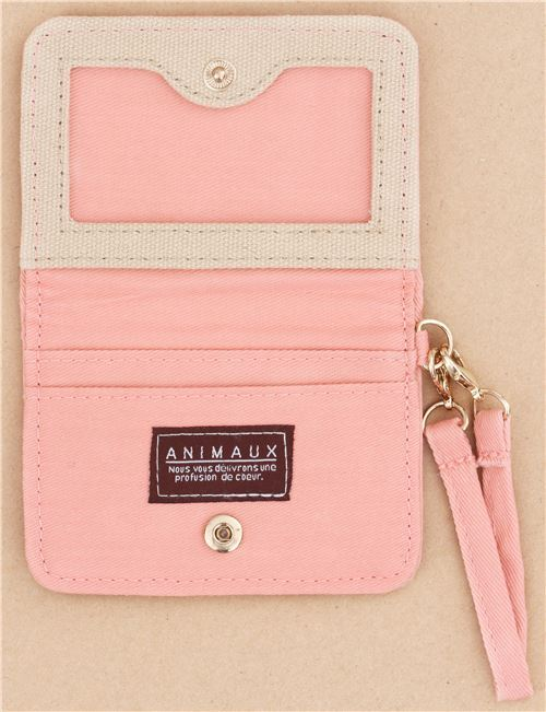 cute brown pink alpaca card holder case wallet from japan 4 - Pink Card Holder