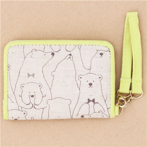 cute brown yellow bear card holder case wallet from Japan 207749 3