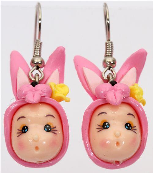cute bunny girl head earrings kawaii other cute things kawaii