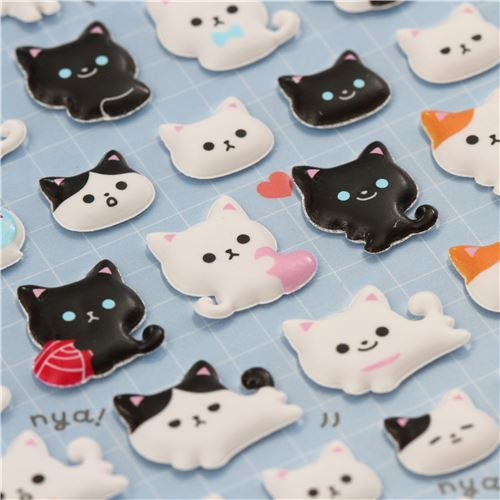 Cute cat animal paw print mini puffy 3d sponge stickers from japan 4