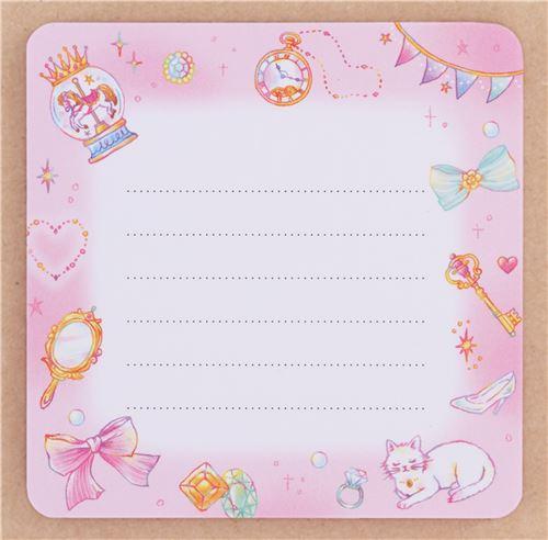 Cute Cat Crown Moon Metal Case Note Pad From Japan Memo