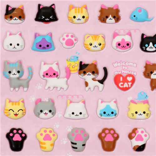 cute cats sponge sticker Q-Lia - Sticker Sheets
