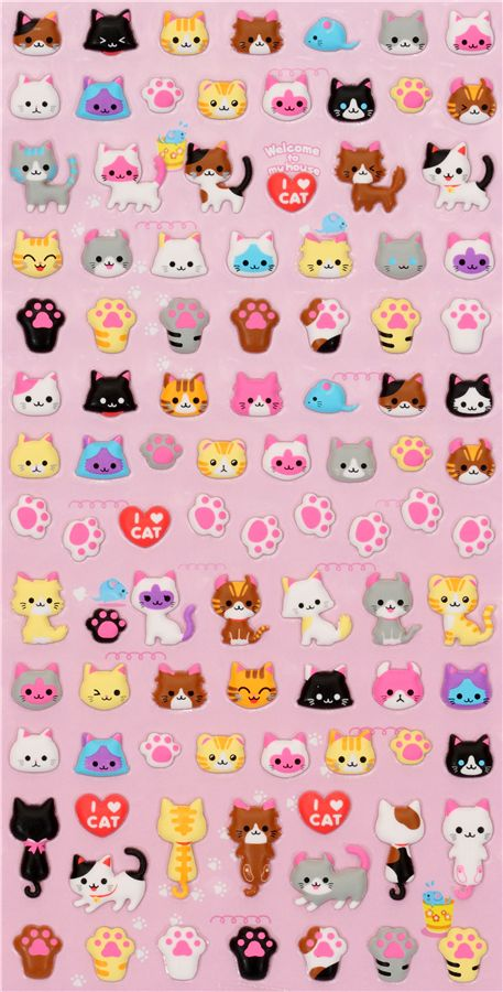 cute cats sponge sticker Q-Lia - Sticker Sheets - Sticker
