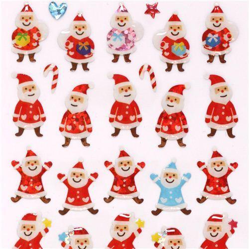 Lindas Pegatinas Navidad Brillo Santa Claus Traje Colores De Japon