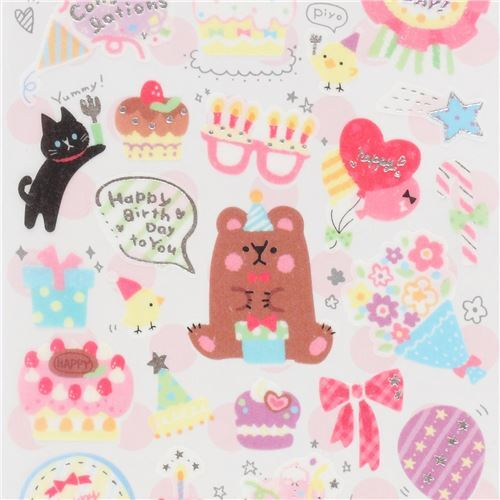 Cute Colorful Birthday Cake Decoration Semi Transparent Stickers By Q Lia 1