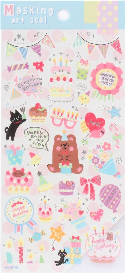 Cute Colorful Birthday Cake Decoration Semi Transparent Stickers By