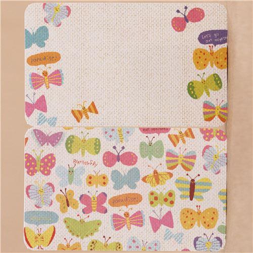 Lindas Tarjetas Para Mini Mensajes Con Mariposas De Colores De Japón