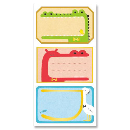 cute colorful crocodile hippo bird animal address label sticky note