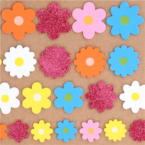 cute colorful flower glitter 3d foam sticker by kamio japan flower
